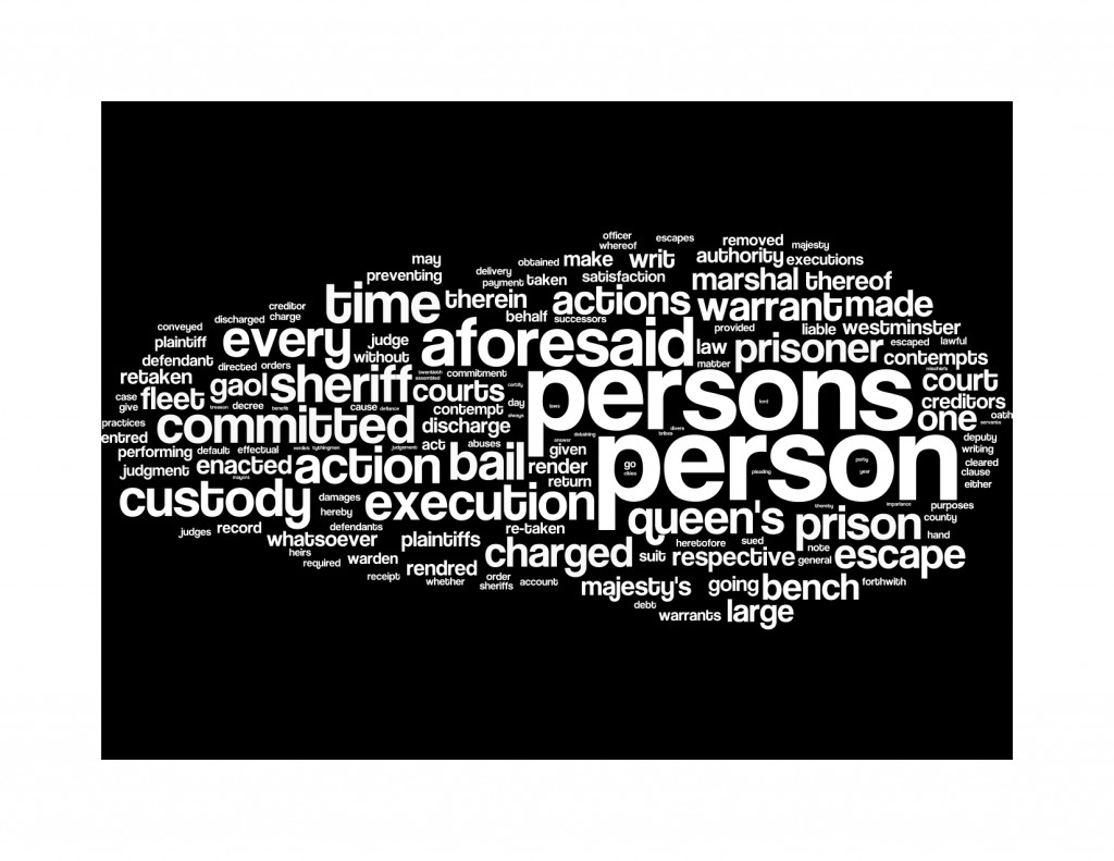 Wordle of 1 Anne st 2 c 6: An act for the better preventing escapes out of the Queen's Bench and Fleet prisons.